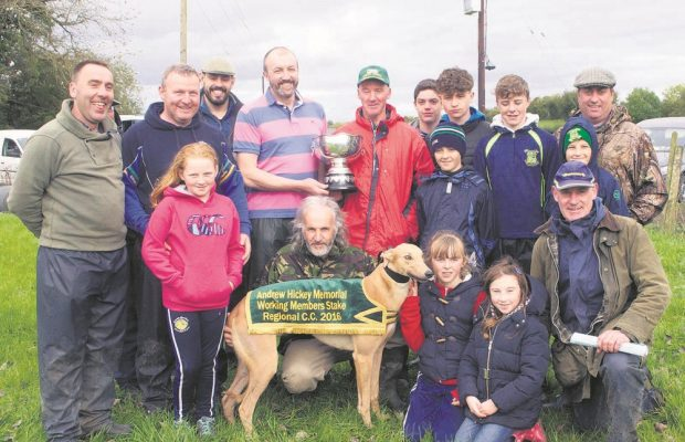 regional coursing 24; Donie Quinn, presenting the Andrew Hickey Memorial Stake Michael and Gerard Mcheney, Lurgan to Michael and Gerard Mcheney, Lurgan, whose dog 'Annabel Magic' won the Andrew Hickey Memorial working members  Stake at the Regional Coursing.Also in photo are working members and friends. pic Declan hehir