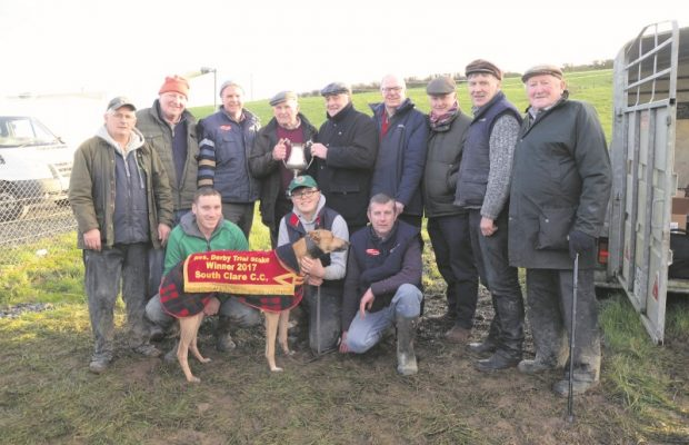 In the centre Brian Divilly presents the Donal Breen Memorial Cup to  Mike Raele from Bruff Co.Limerick after winning the Reserve Derby Trial Stake at the South Clare Coursing Meeting. Also included are from the left Kevin Callinan,Kavin  Connolly,Pat Raele Tom Raele,D.J.Histon,Gerry Hoilan and Murt Harvey in front are Ciaran Connolly,Ethain Moloney withK NOCKDERG FLYER and David Casey.